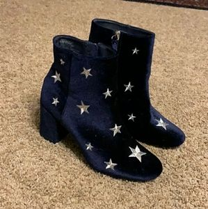 Navy Blue Velvet Star Ankle Boots Booties